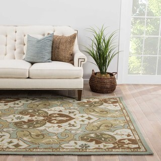 Hand-hooked Indoor/ Outdoor Abstract Pattern Blue Rug (3'6 x 5'6)