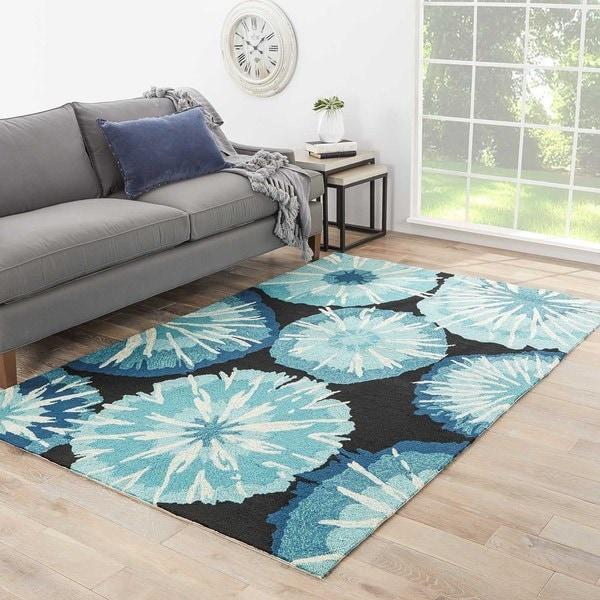 "Thea Indoor/ Outdoor Abstract Blue/ Black Area Rug (3'6"" X 5'6"") - 3'6 x 5'6"