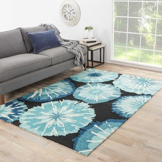 "Thea Indoor/ Outdoor Abstract Blue/ Black Area Rug (3'6"" X 5'6"")"