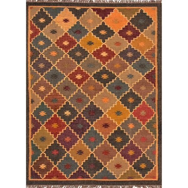 Handmade Flatweave Tribal Pattern Multi-Colored Wool-and-Jute Rug (2' x 3')