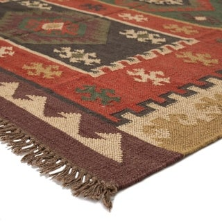 Manzana Handmade Geometric Red/ Gold Area Rug (4' X 6')