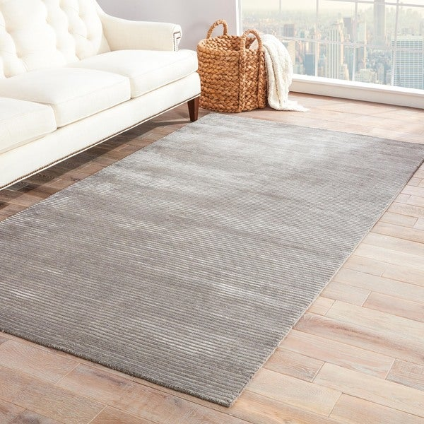 Phase Handmade Solid Gray Silver Area Rug 2 X27 X 3