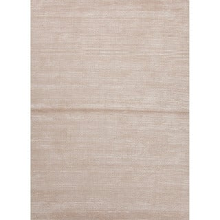 Hand-loomed Solid Pattern Brown Rug (3'6 x 5'6)