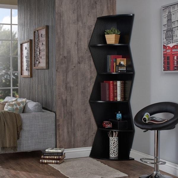 Furniture Of America Hamner 75 Inch Black 5 Tier Corner Bookcase