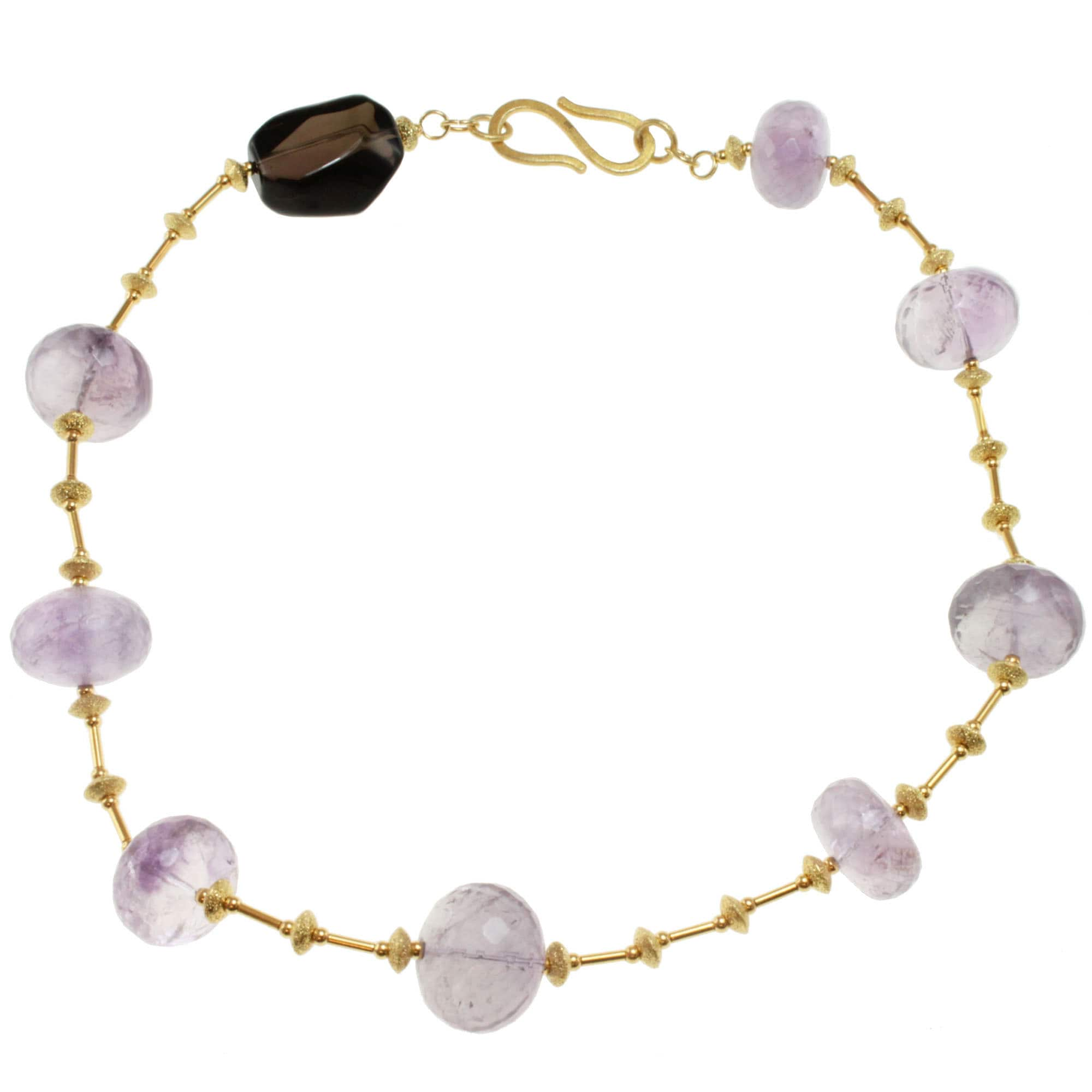 Michael Valitutti Gold over Sterling Silver Amethyst and Smoky Quartz Necklace