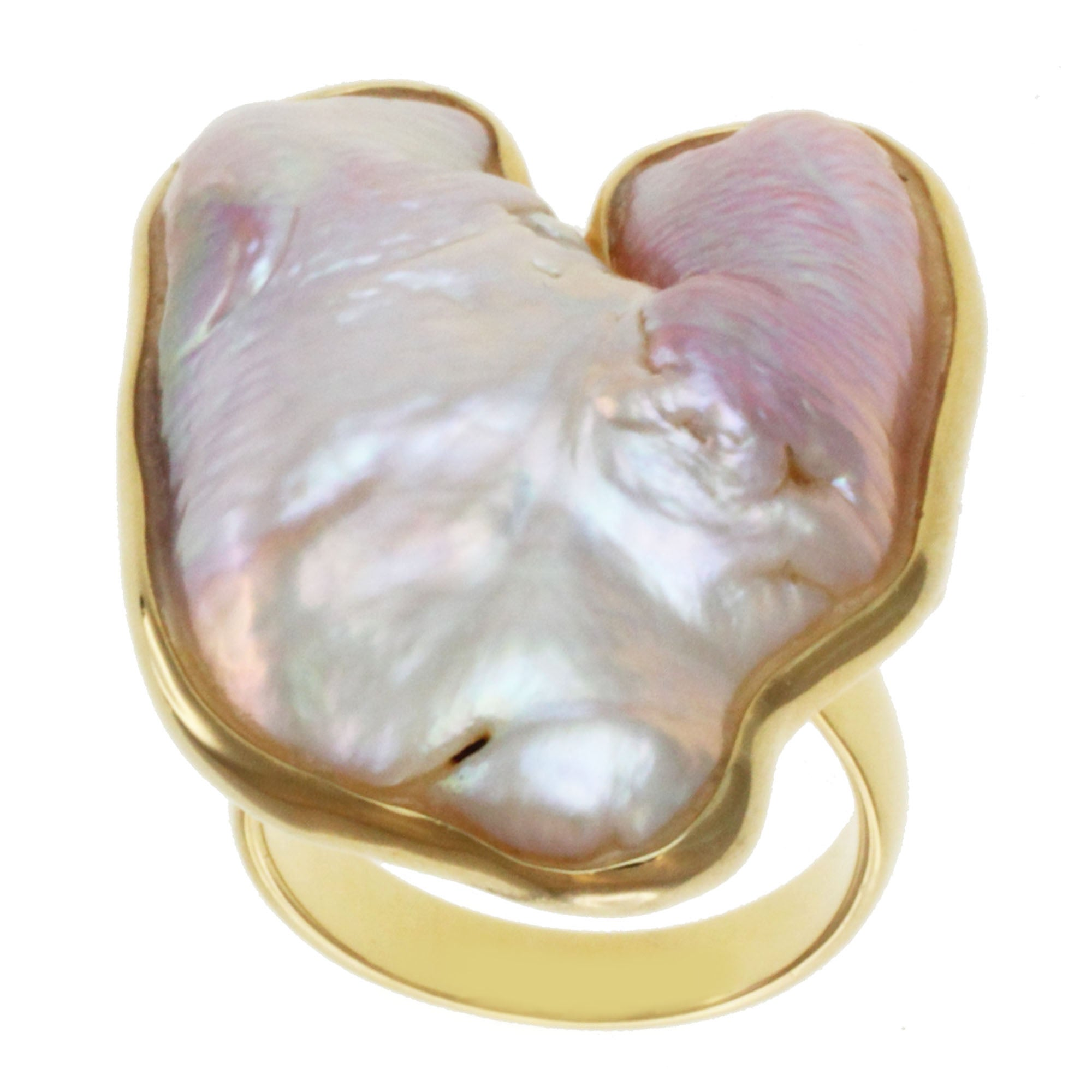 Michael Valitutti Gold over Silver Biwa Pearl Ring (20-31 mm)
