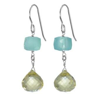 Lemon Quartz Briolette, Aqua Chalcedony Sterling Silver Earrings. Ashanti Jewels