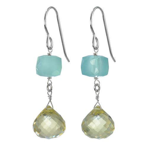 Lemon Quartz Briolette, Aqua Chalcedony Silver Earrings