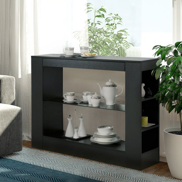 Furniture of America Khanelle Black Multi-storage Tempered Glass Dining  Buffet Table - Furniture Of America Khanelle Black Multi-storage Tempered Glass