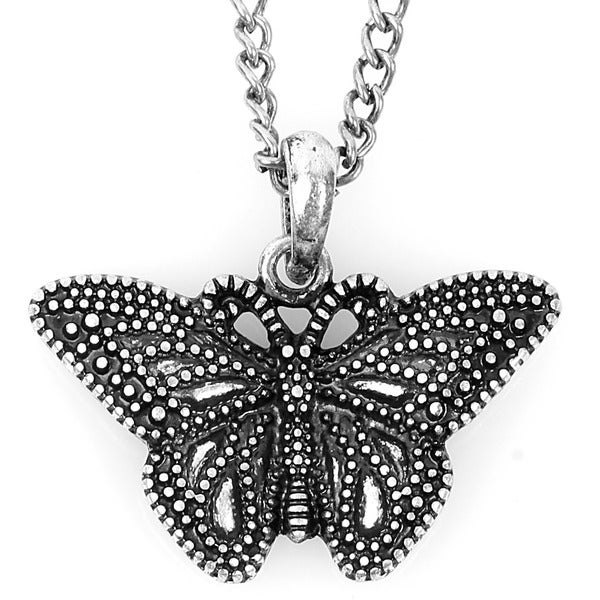 Silvertone Marcasite Butterfly Necklace