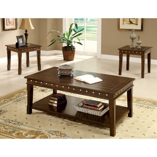 Furniture of America Jiff Traditional Walnut 3-piece Accent Table Set