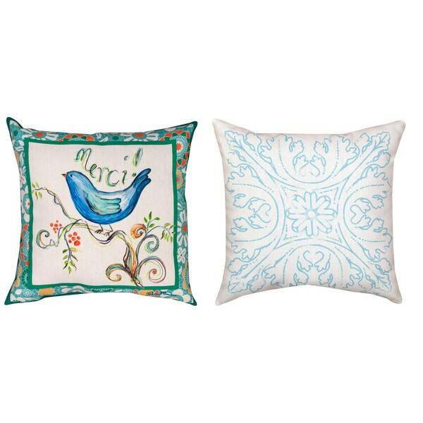Minasian Merci indoor/outdoor Bird 18-inch Pillow Set (Set of 2)