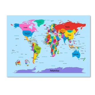 Children's Multi-colored World Map Canvas Art