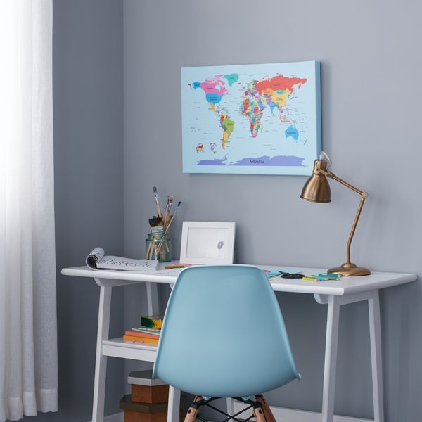 shop children s multi colored world map canvas art multi on sale