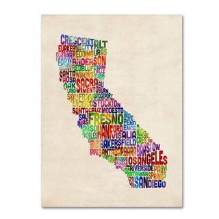 Michael Tompsett 'California Text Map' Canvas Art