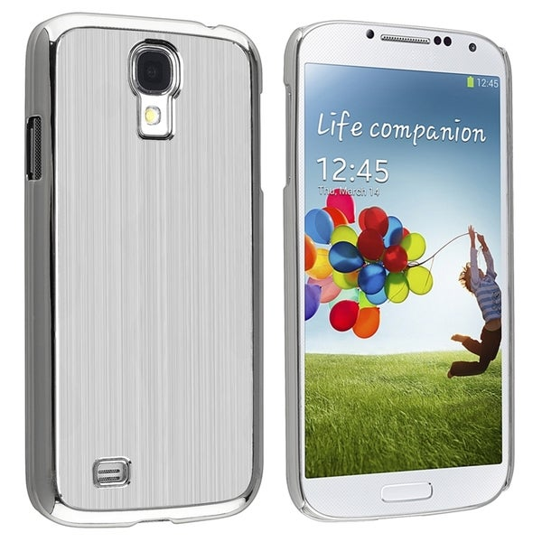INSTEN Silver Brushed Aluminum Protector Phone Case Cover for Samsung Galaxy S4