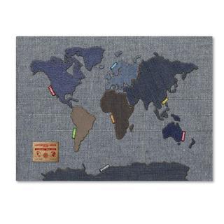 Michael Tompsett 'Denim World Map' Canvas Art