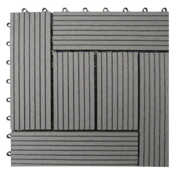 Bamboo Composite 6-slat Deck Tiles (Set of 11)