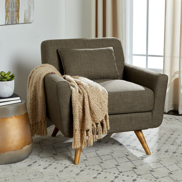 Shop Abbyson Bradley Khaki Mid Century Fabric Armchair