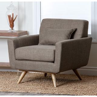 Abbyson Bradley Khaki Mid-Century Fabric Armchair