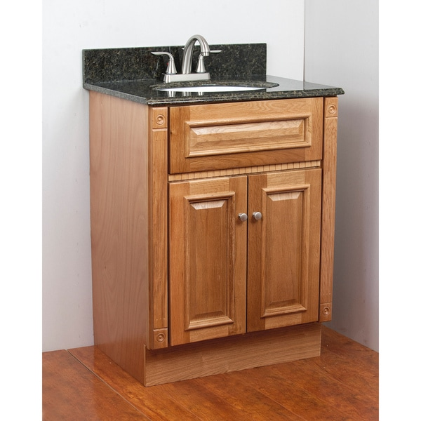 Heritage Oak Granite Top Single Sink Vanity Cabinet