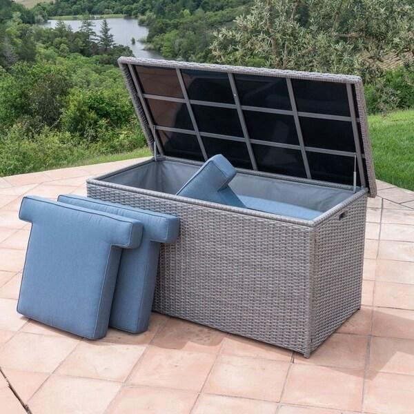 Shop Corvus Lattice Outdoor Cushion Storage Box Free Shipping
