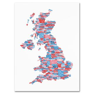 Michael Tompsett 'UK Cities Text Map 7' Canvas Art