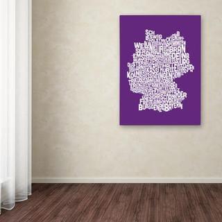 Michael Tompsett 'Germany Regions Map in Purple' Canvas Art