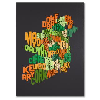 Michael Tompsett 'Ireland Text Map 6' Canvas Art