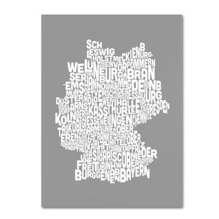 Michael Tompsett 'Germany Regions Map in Neutral' Canvas Art