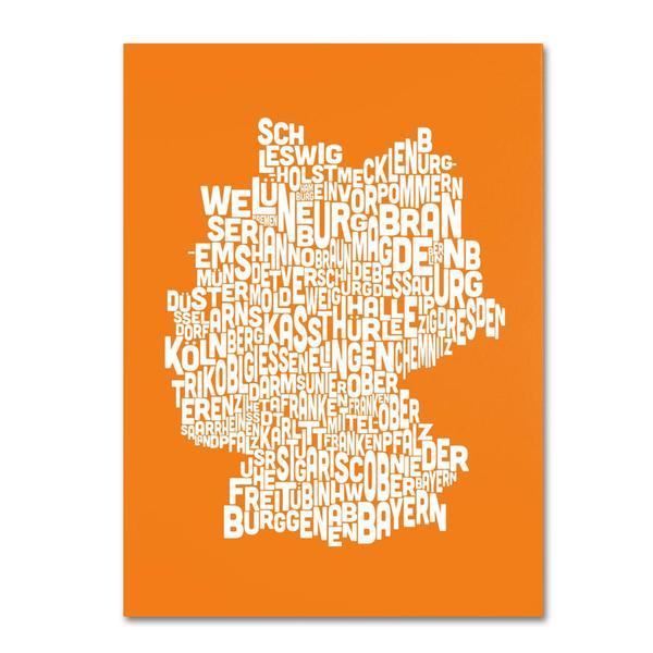 Michael Tompsett 'Germany Regions Map in Orange' Canvas Art
