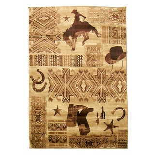 Cowboy, Boots, and Hat Brown Lodge Area Rug (5' x 7')
