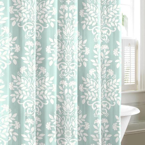 Laura Ashley Rowland Blue Cotton Shower Curtain