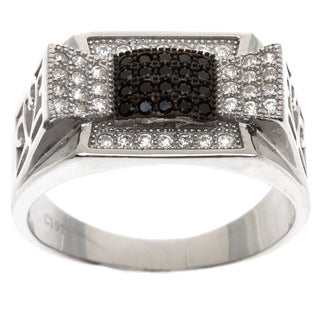 La Preciosa Sterling Silver Men's Black and White Cubic Zirconia Ring