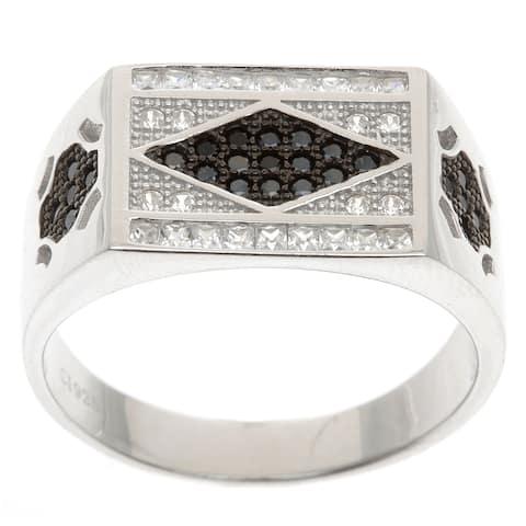 La Preciosa Sterling Silver Men's Black and White Cubic Zirconia Ring