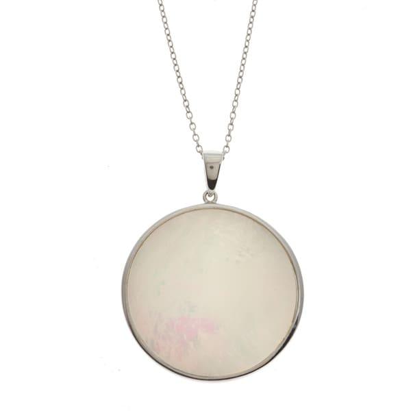 La Preciosa Sterling Silver Mother of Pearl Circle Necklace