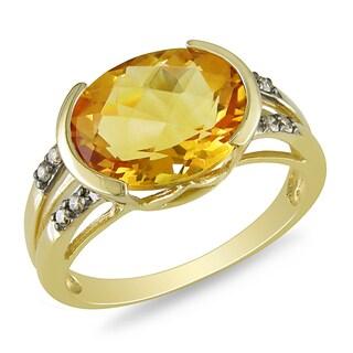 Miadora 10k Yellow Gold Citrine and 1/10ct TDW Brown Diamond Ring