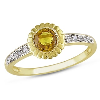 Miadora 14k Yellow Gold Yellow Sapphire and 1/10ct Diamond Ring (G-H, I1-I2)
