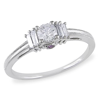 L'Amour Enrose by Miadora 10k White Gold Baguette and Round-cut 1/2ct TDW Diamond Engagement Ring (G-H, I2-I3)