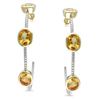 Miadora Yellow Plated Silver Citrine Hoop Earrings