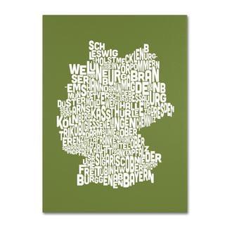 Michael Tompsett 'Germany Regions Map in Olive' Canvas Art
