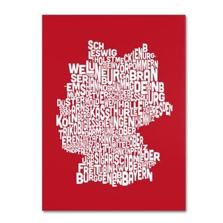 Michael Tompsett 'Germany Regions Map in Red' Canvas Art