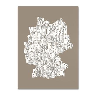Michael Tompsett 'Germany Regions Map in Taupe' Canvas Art