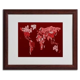 Michael Tompsett 'World Text Map 3' Framed Matted Art