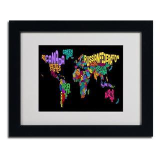Michael Tompsett 'World Text Map 4' Framed Matted Art
