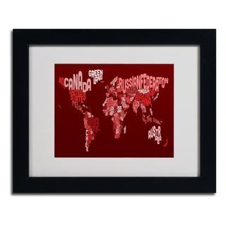 Michael Tompsett 'World Text Map 3' Framed Matted Art