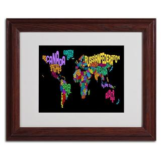 Michael Tompsett 'World Text Map 4' Framed Matted Art
