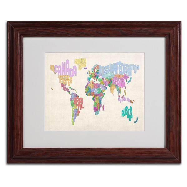 Michael Tompsett 'World Text Map 5' Framed Matted Art