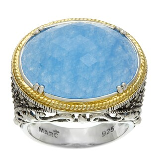 MARC 14k Gold over Sterling Silver Blue Jade and Marcasite Ring