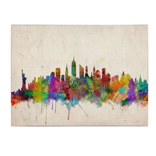 Michael tompsett new york skyline canvas art free shipping michael tompsett x27new york skylinex27 voltagebd Image collections